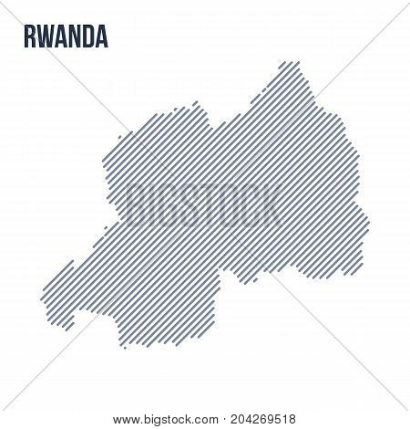 Vector Abstract Hatched Map Of Rwanda With Oblique Lines Isolated On A White Background.