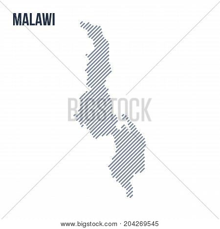 Vector Abstract Hatched Map Of Malawi With Oblique Lines Isolated On A White Background.