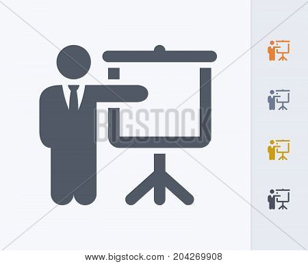 Businessman & Projector Screen - Carbon Icons. A professional, pixel-perfect icon designed on a 32x32 pixel grid and redesigned on a 16x16 pixel grid for very small sizes