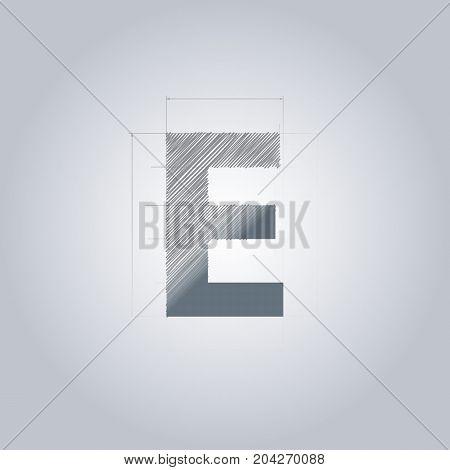Letter E logo. Alphabet logotype architectural design. Grey color. Blueprint. With gradient.