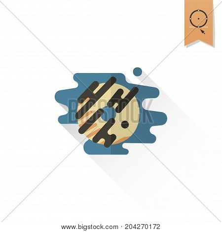 Donut with Chocolate Glaze. Dessert Icon in Simple, Minimalistic and Modern Flat Design Style for Candy Shop. Retro Color. Long Shadow