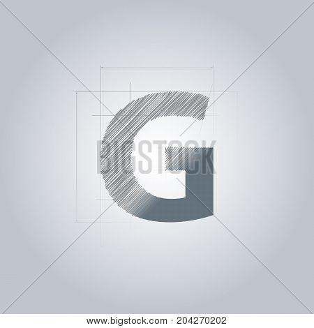 Letter G logo. Alphabet logotype architectural design. Grey color. Blueprint. With gradient.