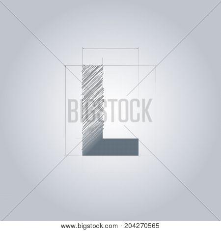 Letter L logo. Alphabet logotype architectural design. Grey color. Blueprint. With gradient.
