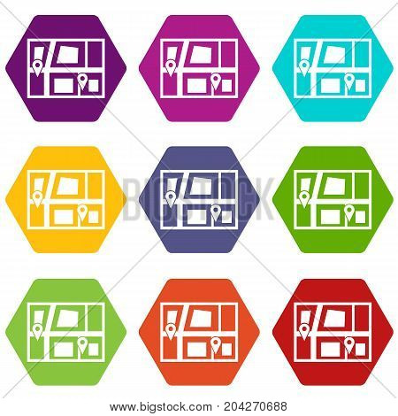 Geo location of taxi icon set many color hexahedron isolated on white vector illustration