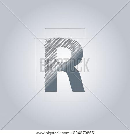 Letter R logo. Alphabet logotype architectural design. Grey color. Blueprint. With gradient.