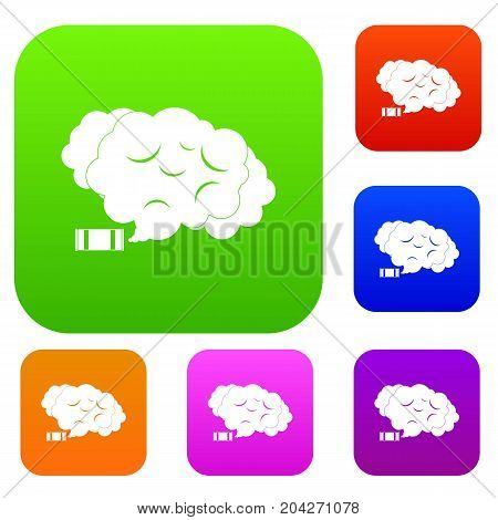 Tear gas set icon color in flat style isolated on white. Collection sings vector illustration