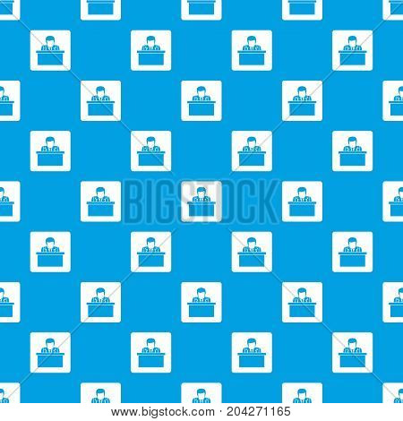 Orator speaking from tribune pattern repeat seamless in blue color for any design. Vector geometric illustration