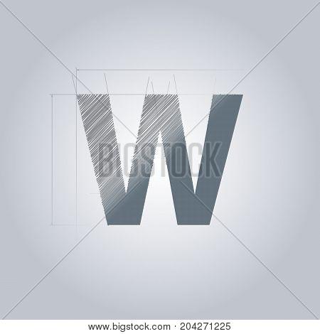 Letter W logo. Alphabet logotype architectural design. Grey color. Blueprint. With gradient.