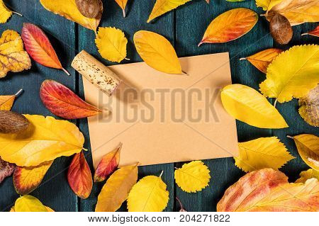 A photo of a cork, shot from above with autumn leaves and a brown kraft card for copy space, on dark rustic background. Autumn wine design for tasting invitation, restaurant menu, with place for text