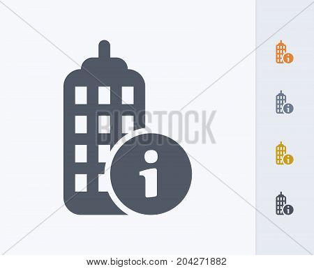 Skyscraper & Information Button - Carbon Icons. A professional, pixel-perfect icon designed on a 32x32 pixel grid and redesigned on a 16x16 pixel grid for very small sizes