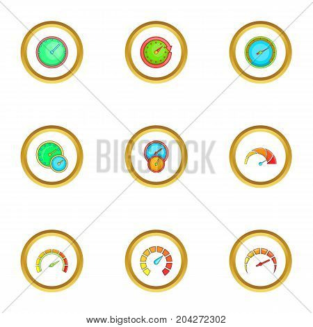 Speedometer icons set. Cartoon style set of 9 speedometer vector icons for web design