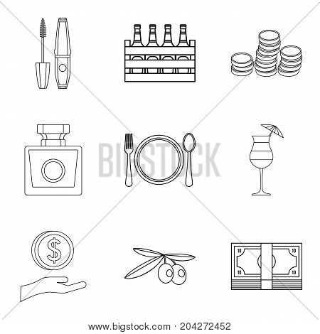 Expensive pleasure icons set. Outline set of 9 expensive pleasure vector icons for web isolated on white background
