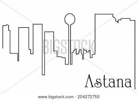 Astana city one line drawing - abstract background with cityscape of European capitol