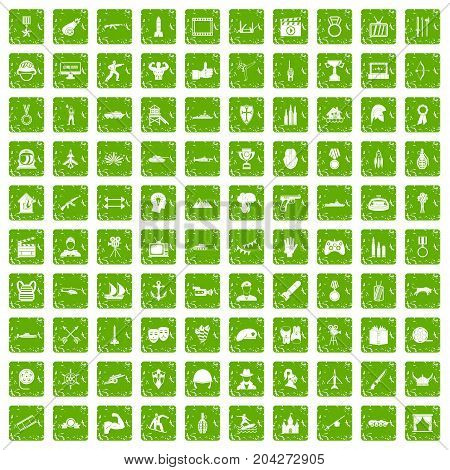 100 hero icons set in grunge style green color isolated on white background vector illustration