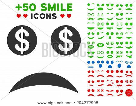 Bankrupt Smile pictograph with bonus smiley images. Vector illustration style is flat iconic symbols for web design, app user interfaces.