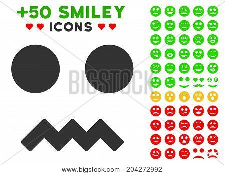 Fright Smile pictograph with bonus emoticon graphic icons. Vector illustration style is flat iconic symbols for web design, app user interfaces.