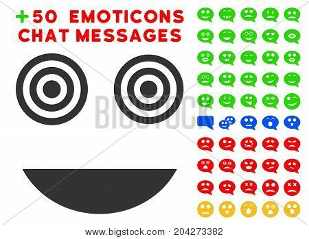 Mad Smile icon with bonus avatar icon set. Vector illustration style is flat iconic elements for web design, app user interfaces.