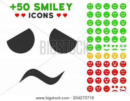 Sad Worried Smile pictograph with bonus emoticon images. Vector illustration style is flat iconic symbols for web design, app user interfaces.