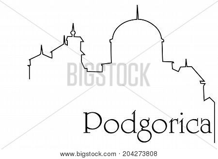 Podgorica city one line drawing - abstract background with cityscape of European capitol