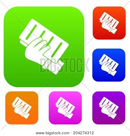 Brick in a hand set icon color in flat style isolated on white. Collection sings vector illustration