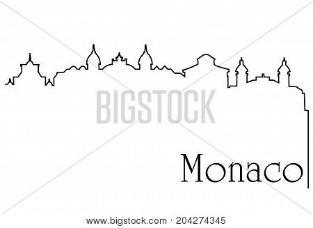 Monaco city one line drawing - abstract background with cityscape of European capitol