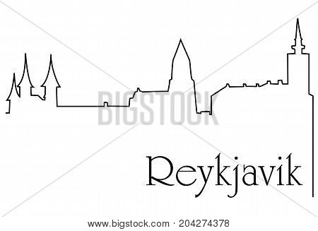 Reykjavik city one line drawing  - abstract background with cityscape of European capitol