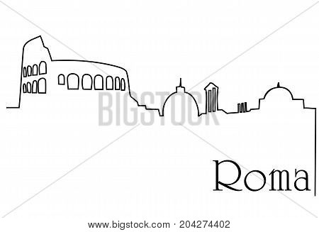 Roma city one line drawing  - abstract background with cityscape of European capitol
