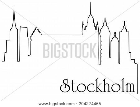 Stockholm city one line drawing - abstract background with cityscape of European capitol