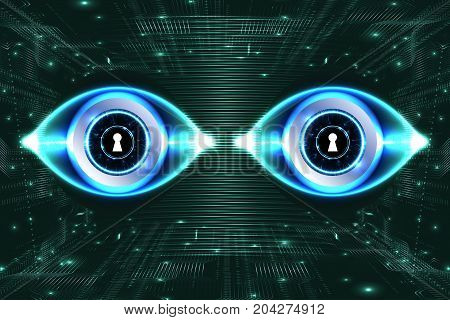 Digital technology background, digital eyes, futuristic security concept. Illustration vector