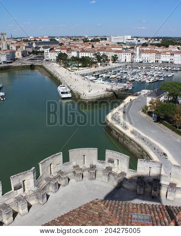 LA ROCHELLE, FRANCE, JULY 17 2017: View of the old port from St.Nicholas Tower in La Rochelle. Which is one of the most historically rich cities on the Atlantic coast with a strong tourism industry.