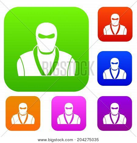 Ninja in black mask set icon color in flat style isolated on white. Collection sings vector illustration
