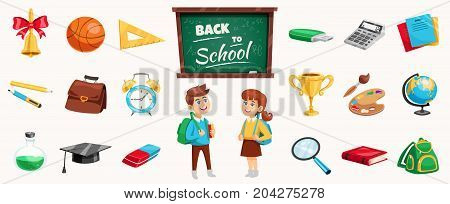 Back to school supplies icons set poster with schoolchildren chalkboard stationary calculator terrestrial globe backpack vector illustration