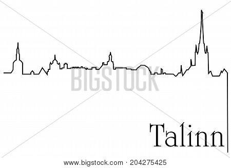 Talinn city one line drawing - abstract background with cityscape of European capitol