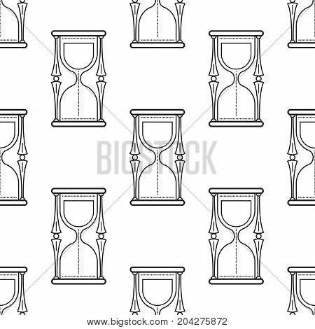 Hourglass. Black and white seamless pattern for coloring books, pages. Vector illustration.