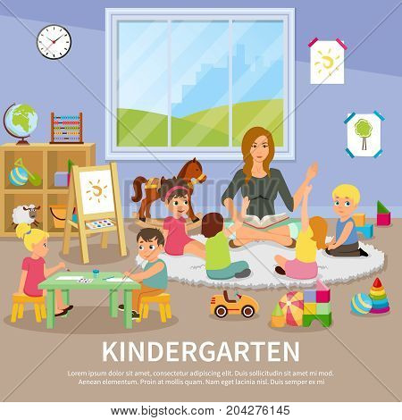 Kindergarten flat composition with educator working with children, kids during drawing, colorful toys, interior elements vector illustration