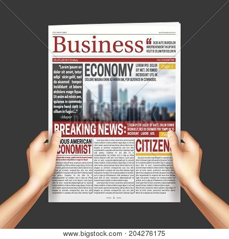 Reading International economy business news poster with hands holding newspaper on dark background realistic vector illustration