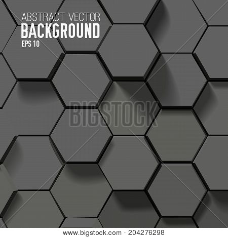 Geometric hexagonal abstract background in gray color and mosaic style vector illustration