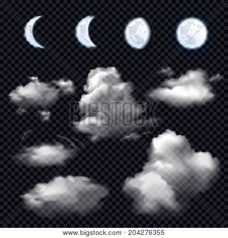Realistic set of four phases of moon and different cloud shapes on transparent background isolated vector illustration