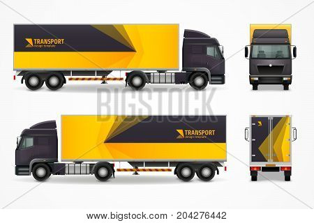 Realistic cargo vehicle mockup with front, side and rear view, yellow black ad design vector illustration