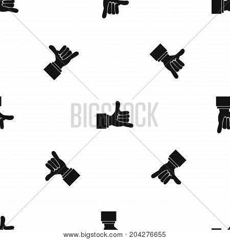 Call me gesture pattern repeat seamless in black color for any design. Vector geometric illustration