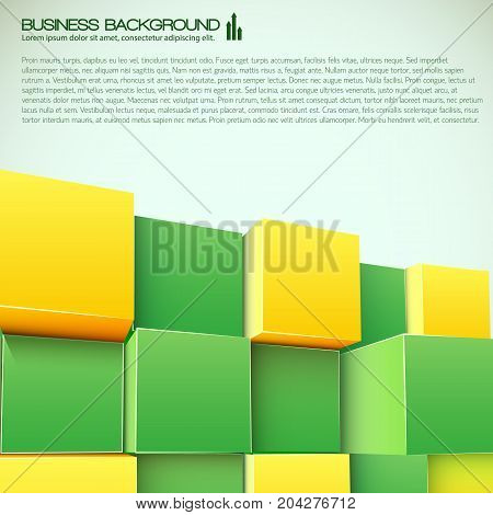 Business design with text and assembly from yellow and green 3d blocks on light background vector illustration