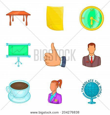 Office manager icon set. Cartoon set of 9 office manager vector icons for web design isolated on white background