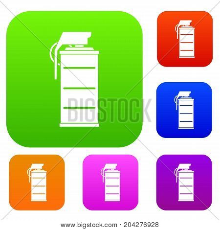 Stun grenade set icon color in flat style isolated on white. Collection sings vector illustration