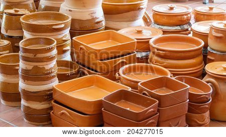 Detailed view of different pottery elements for sale