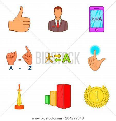 International business coaching icon set. Cartoon set of 9 international business coaching vector icons for web design isolated on white background