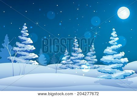 Seasonal decorative fairy night background with winter landscape snowy trees stars moon and falling snowflakes vector illustration