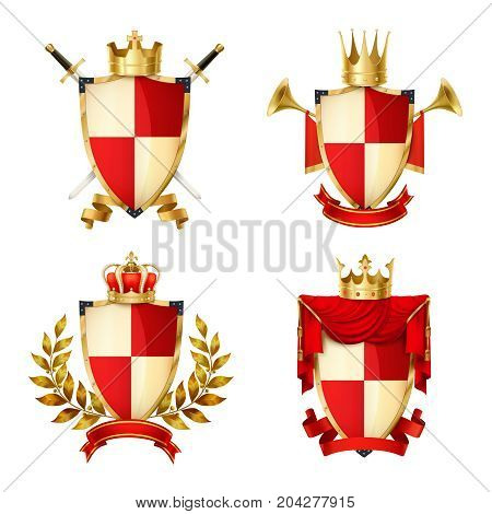Heraldic shields realistic set with ribbons and crowns isolated vector illustration