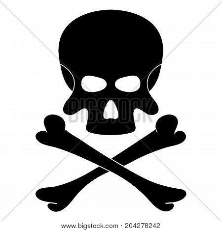 Skull and bones. Black danger sign on white background. Vector illustration.