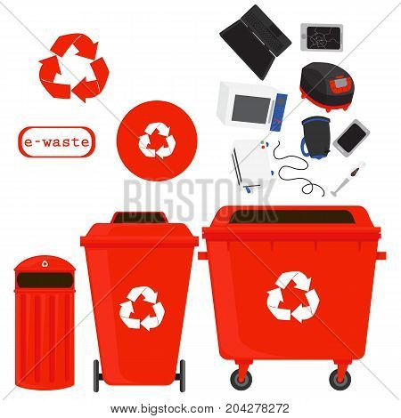 sorting of waste and recycling - e-waste. Symbols, types.Sorting garbage. Ecology and recycle concept. vector flat illustrations.