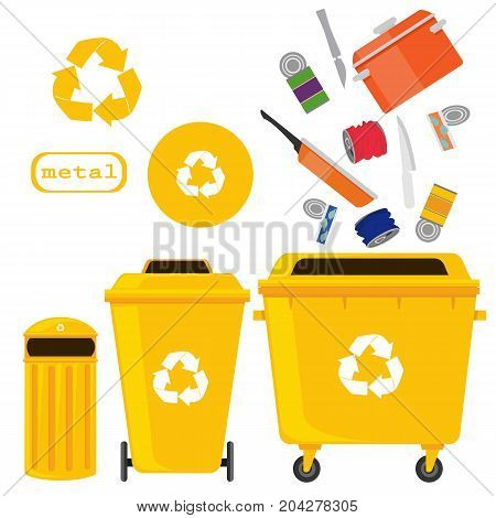 sorting of waste and recycling - metal. Symbols, types.Sorting garbage. Ecology and recycle concept. vector flat illustrations.